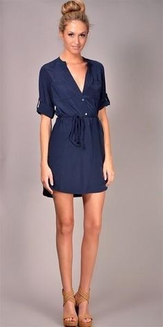 Navy v-neck button up shirt dress with tab sleeves & belt. #sponsored 2017 Fashion trends. Stitch Fix