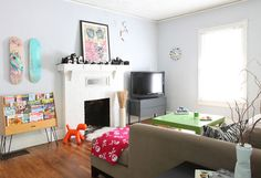 Paint colors that match this Apartment Therapy photo: SW 6583 In the Pink, SW 7710 Brandywine, SW 6765 Spa, SW 7048 Urbane Bronze, SW 6259 Spatial White