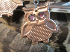 OWLS UpCycled Owl EARRINGS With Crystal EYES Super Light One Of A Kind Fun To Wear Owl Lovers Perfect Gift with Greeting Card Super Cute!! by DinosaurTshirts on Etsy