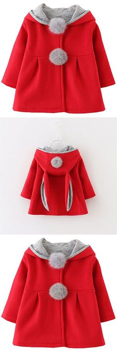 Kids Baby Girls Coat Winter Warm Hoodie Jacket Outerwear