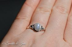 Oxidized Sterling Silver Rainbow Moonstone Ring – Sparkle & Jade