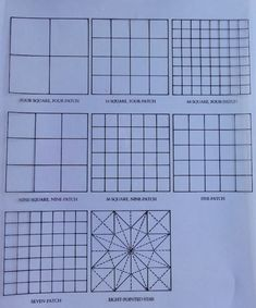 Quilts-Outline drawing of some of the most common grid categories. Quilting For Beginners, Quilting Tips, Quilting Designs, Quilt Design, Patchwork Quilt Patterns, Paper Piecing Patterns, Quilts Online, Happy Design, Outline Drawings