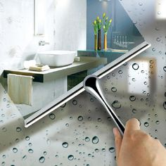 Window Squeegee Stainless Steel Glass Car Window Wizard Wiper Cleaner Mirror Tile Cleaning Brush with Sucker limpeza de vidro