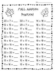 FALL Addition Practice Worksheet Pack – 3 Leveled Sheets for Back to School! Year 7 Maths Worksheets, Math Workbook, Addition Worksheets, Subtraction Worksheets, Subtraction Kindergarten, Math Charts, Teaching Geography, Math Practices, First Grade Math