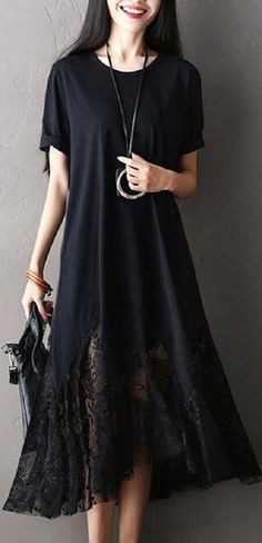 US$20.99 Casual Women Lace Patchwork Short Sleeve O-Neck Maxi Dress #clothes#design#style