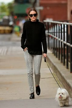 Olivia Palermo takes Mr Butler for a walk in Brooklyn, New York. -