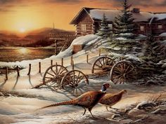 Terry Redlin - Peaceful Evening - Very Rare! Complete colection of art, limited editions, prints, posters and custom framing on sale now at Prints. Avon, Wildlife Paintings, Wildlife Art, Dakota Do Sul, Terry Redlin, Decoupage, Winter Schnee, Deer Pictures, Arte Country
