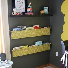 DIY sling bookshelves - will be doing this for the kids' rooms one day :)