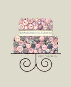 Layer Cake Button art Swarovski Art Cake Wedding by BellePapiers