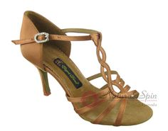 Natural Spin Signature Latin Shoes(Open Toe):  H1125_DrTanS