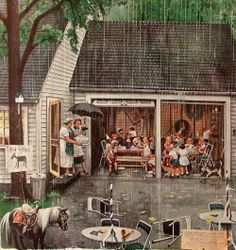 """Rain-out Birthday Party"" by Stevan Dohanos (1907-1994, American)"