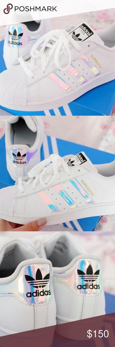 Holographic adidas superstar Never worn. Just purchased. Debating on selling because theyre so unique! ✨ Adidas Shoes Sneakers