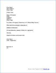 Download the Business Letter Template from Vertex42.com