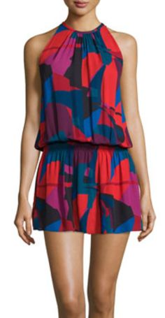 Jewel Neck Multi Color Print Blousent Dress