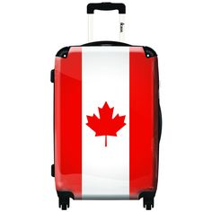 iKase 'Canadian Flag' 20-inch Fashion Hardside Carry-on Spinner Suitcase