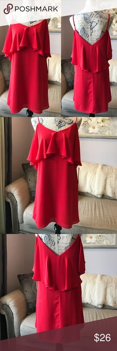 NWT Red Chiffon cold shoulder red dress Brand new Aqua red dress! Super light and flowy, has two layers. Can be work as cold shoulder dress or as a strap without the arms! I wear 36D so the chest was a little tight on me. My loss is your gain! 💃 about 30 inches measured from top of bust! Aqua Dresses