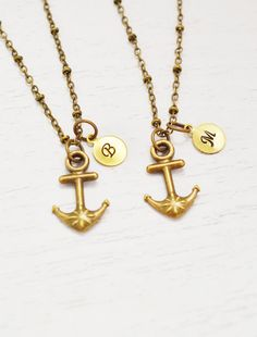 set of 2 nautical anchor charm pendant,best friend necklace,hand stamped gift for bff,friendship necklace set,navy wife,bridesmaid necklace