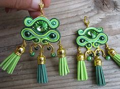 Ridgways / Hippie collection - green tassels...soutache