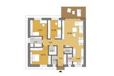Projekt domu - bungalov O110 | DJS Architecture Construction Drawings, Construction Cost, Site Plan Drawing, 3 Bedroom Bungalow, Stone Cladding, Energy Efficient Homes, Building Structure, Concrete Blocks, Plan Design