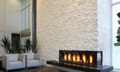 White Quartz Stacked Stone Fireplace Gallery At The Matrix Hotel | Norstone USA