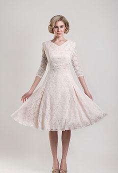 Tea Length Wedding Dress DAWSON BLUSH Love the color and length!!!!