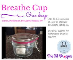 #Breathe cup with #Essential Oils. Come on over to www.theoildropper.com to get stocked up!