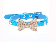 Enjoying Pet PU Leather Necklace Bling Dog Collars with Golden Bow-Knot Blue -Medium ** New and awesome cat product awaits you, Read it now  : Cat Collar, Harness and Leash