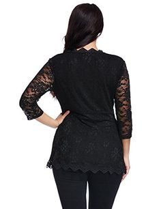 LookbookStore Women's Plus Size Black V Neck Lace 3/4 Sleeves Scallop Blouse Top