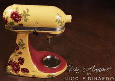Quilting themed Custom painted KitchenAid Mixer by © NICOLE DINARDO of UN AMORE