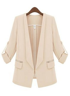 Beige Lapel Long Sleeve Slim Pockets Blazer - Sheinside.com