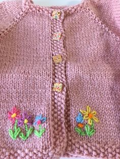 Your place to buy and sell all things handmade Hand knit and embroidered little girl's sweater, Hand knitted, cardigan, wood buttons, pink acrylic Silk Ribbon Embroidery, White Embroidery, Hand Embroidery, Embroidery Designs, Baby Knitting Patterns, Hand Knitting, Vintage Knitting, Girls Sweaters, Baby Sweaters