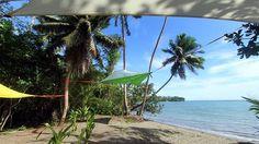 The Tentsile Eco Village Fiji, right on the beach on Vanua Levu Island. Picture: Tentsile