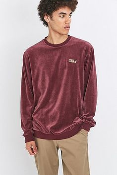 adidas Originals Maroon Velour Crewneck Sweatshirt