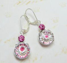 Swarovski Rose Crystal Earrings Dangles by dfoxjewelrydesigns