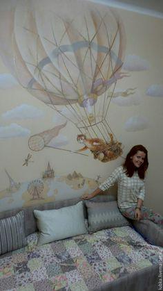 Купить Роспись стен в детской Кот путешественни - комбинированный, роспись стен, декор стен