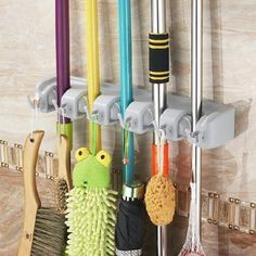 After sweeping up dust, the last thing you want to do is stuff your brook into the closet with your winter coats. This wall-mounted holder($10, amazon.com) keeps all your tools upright and lets them air out afterward.
