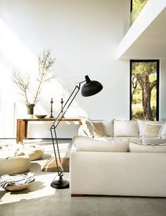Warm interior with concrete floors