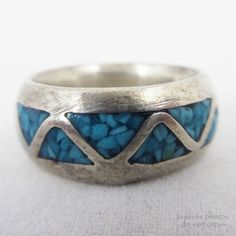 VINTAGE Old BLUE TURQUOISE Gem Stone Gemstone INLAY SILVER Sterling? BAND RING 5 #women #Band #vintage #jewelry #ring ... we sell womens JEWELRIES and RINGS at http://www.TropicalFeel.com