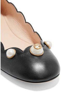 Gucci - Embellished Leather Ballet Flats - Black - IT40
