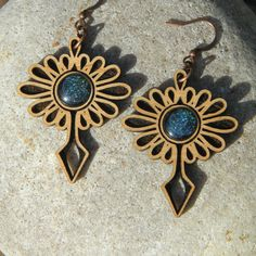 Carnival Dangle Earrings  Blue Galaxy Glass Gems  by woodeyeglass, $28.00