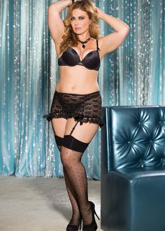 Silky sheer plus size black thigh highs with dotted pattern and stay up top