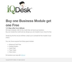 Buy one module from our free business management software and get one module for free