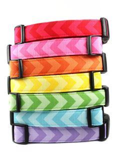 Chevron Dog Collar - Red, Pink, Orange, Yellow, Green, Blue. $21.95, via Etsy.