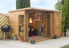 Summer Houses :: Garden Room with side shed 10ft x 8ft - Garden Sheds, Plastic Metal Sheds, Corner Summerhouses UK