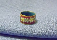 Vintage Ring Guilloche Enameled Red Flowers Sz 7 Special Occasion Gift Ideas Birthday Christmas Holiday Stocking Stuffer