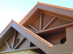 Wooden beams will help hold up a robust roof, when one is needed. Louvers are the perfect solution for keeping the walls closed yet let air flow. Aesthetic Solutions, Cladding Systems, Roof Beam, Wall Cladding, House Roof, Beams, Indoor Outdoor, Facade, Exterior