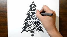 How to Draw a Christmas Tree - Unique Abstract Style Cool Tribal Tattoos, Tribal Tattoo Designs, Abstract Styles, Photoshop Tutorial, My Etsy Shop, Things To Come, Christmas Tree, Graphic Design, Photo Illustration