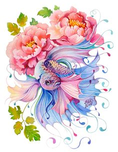 Watercolor Fish Collection on Behance Watercolor Fish, Watercolor Illustration, Watercolor Flowers, Watercolor Paintings, Animal Drawings, Art Drawings, Fish Drawings, Beautiful Fish, Fish Art