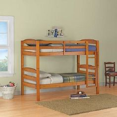 Bunk Beds Convertable Kids Childrens Bedroom Furniture Twin Wood Wooden Bunkbeds #Mainstays