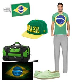 """""""Team of the Brazil in Rio 2016 Olympic games"""" by streberka ❤ liked on Polyvore featuring Topman, Havaianas, Puma, Cufflinks, Inc. and New Era"""